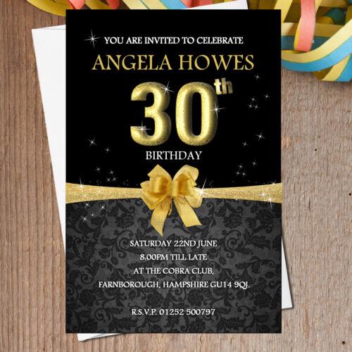 10 Personalised 18th 21st 30th 40th 50th Black /& Gold Birthday Invitations N193