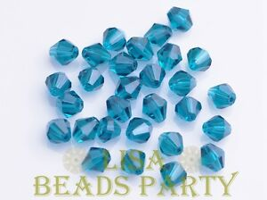 New-100pcs-4mm-Bicone-Faceted-Crystal-Glass-Loose-Spacer-Beads-Peacock-Blue