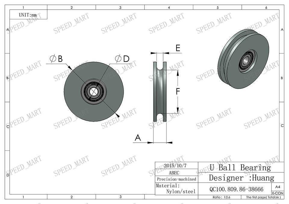 2pcs u nylon plastic embedded 608 groove ball bearings 8
