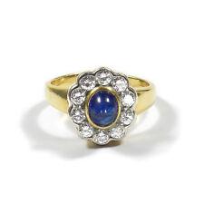 Saphir Diamant Ring 750 Gold mit 1 ct Brillanten & Saphir Sabochon Sapphire