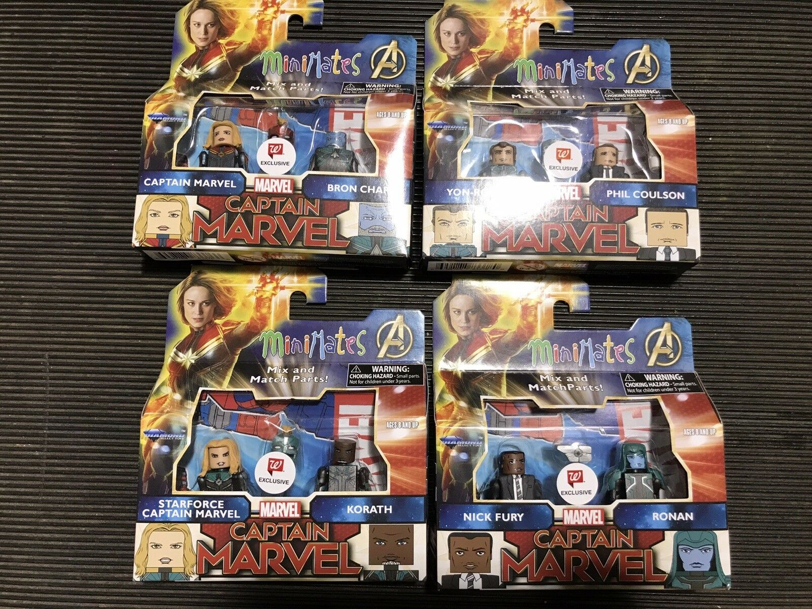 Marvel MiniMates Captain Marvel Walgreens Exclusive FULL SET  NIB Never Opened