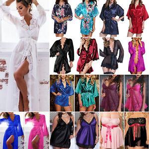 Plus Size Womens Satin Peacock Kimono Dressing Gown Bath Robe