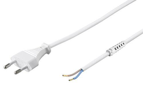 1,5 m Netzkabel Euro-Anschlusskabel weiß mit Zugentlastung