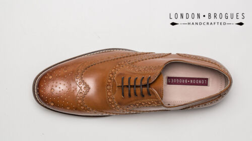 London Brogues GATSBY Mens Tan Leather Lace-up Wingtip Formal Classic Shoe Brown
