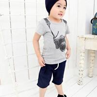 Summer Cotton Baby Boys Kid Children Pullover Shirt Tops T-Shirt Short Sleeve