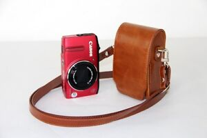 Brown-leather-case-bag-pouch-for-Canon-Powershot-SX620-HS-SX610-HS-ELPH-350-HS
