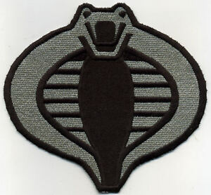 GI-Joe-Cobra-Commander-Officer-Large-6-034-Silver-Black-Embroidered-Iron-On-Patch