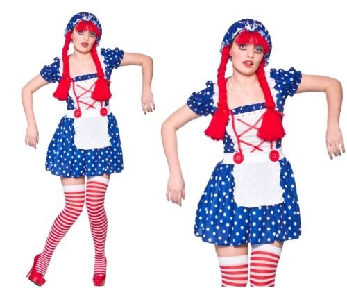 Adult CUTE RAG DOLL Fancy Dress Ladies Puppet Fairytale Costume UK Sizes 6-24