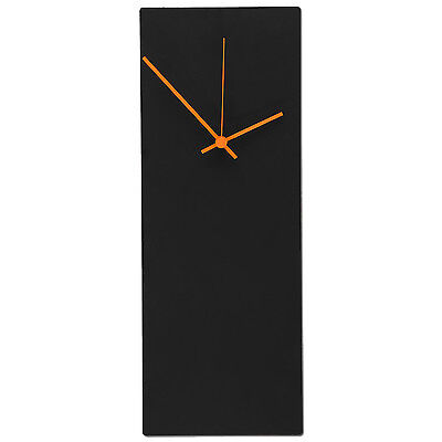 Modern Wall Clock Midcentury Minimalist Black & Orange Metal Contemporary Decor