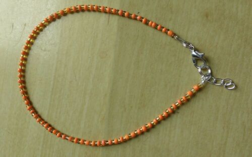 funky orange and gold bead anklet //ankle bracelet hippy boo hoo