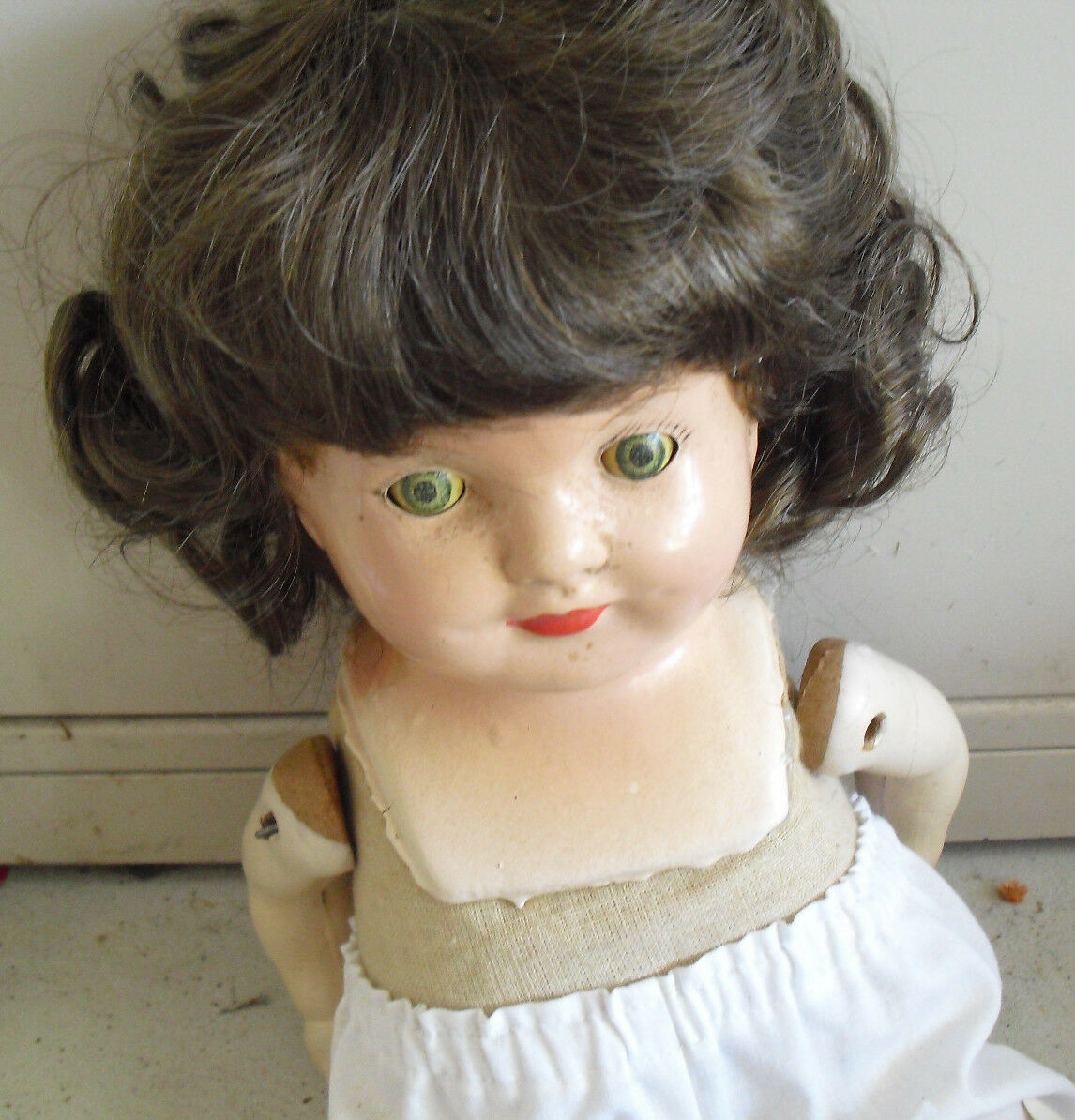 Vintage 1920s Composition Cloth Girl Doll Tin Sleepy Eyes 17  LOOK