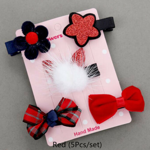 Girls Kids Hair Clip Flower Bowknot Bobby Pin Toddler Baby Hair Accessory 5//6Pcs