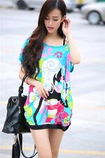 Hot Women's Graphic Maternity T-Shirt Blue Ice Silk Skirt Dress Short Sleeve Tee