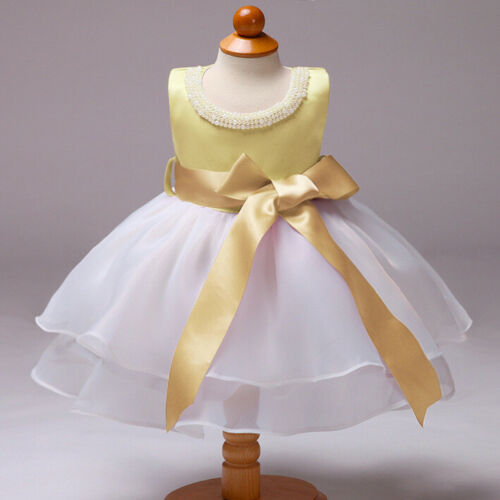 Flower Girl Pearls Bow Dress Baby Girls Princess Party Flower Dresses ZG9