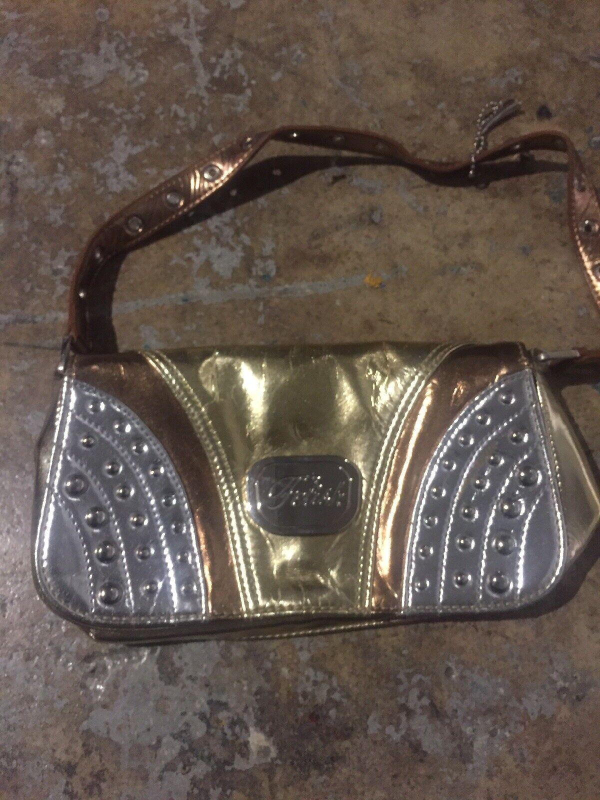 Fetish Clutch Bag Purse gold silver studs cooper … - image 2