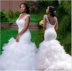 2019 Plus Size Mermaid wedding dress custom