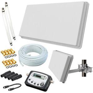 Selfsat Flachantenne H30D2+ HD Sat Anlage 20m Kabel Fensterhalterung Sat-Finder