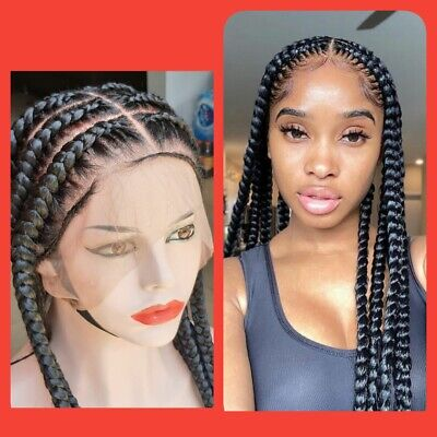 Jumbo Braided Wig Jumbo Box Braids Full Lace Braided Wig Lace Braids Wig Braid Ebay