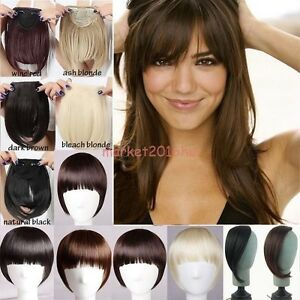 Clip in bangs fringe fake hair extensions brown blonde straight image is loading clip in bangs fringe fake hair extensions brown pmusecretfo Image collections