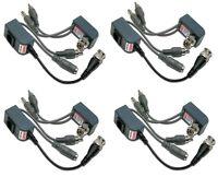 4 Pairs Passive Video Audio Balun Transceivers Cat5 Rj45 Utp Power + Audio Video