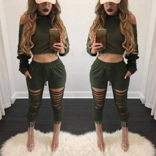 Fashion Women 2 Pieces Long Sleeve Bodycon Autumn Crop Tops Leggings Pants Set
