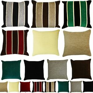 Heavyweight-STRIPED-or-PLAIN-Chenille-Filled-Cushions-or-Cushion-Covers-18x18-034