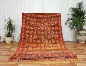 Antique-Moroccan-handmade-wool-carpet-4-039-7-034-x6-039-5-034-Vintage-Beni-Mguild-Bohimean-rug