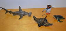 SAFARI LTD MARINE ANIMAL LOT OF 4 FIGURES MODELS TOYS PENGUIN SHARK TURTLE RAY
