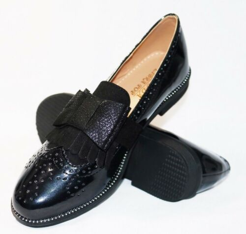 WOMENS BOW SHINY LOAFERS PATENT BLACK /& LEOPARD PRINT CAUSAL /& OFFICE WEAR