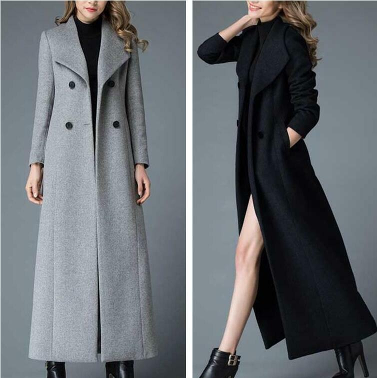 Winter Ladies Golilla Long Wool Trench Coat Double-breasted Outwear Jacket Parka