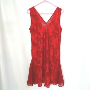 Vintage-Erika-Taylor-Intimates-Chemise-Size-Large-Red-Floral-Nightgown-Negligee