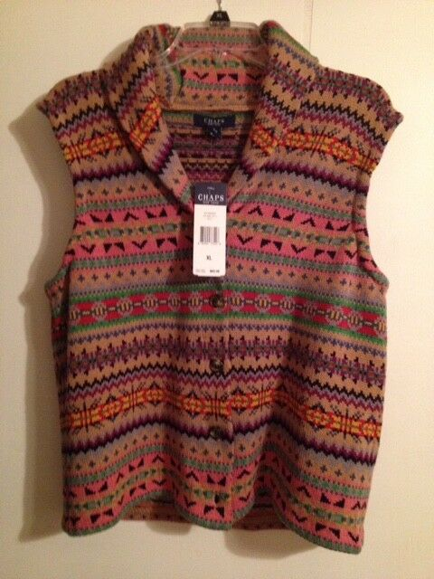 RARE Womens Size XL Chaps Sweater Vest Cardigan Navajo Indian Southwest