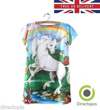Magical Unicorn Rainbow Print T-Shirt - Size UK 8 - Kawaii Harajuku Alternative