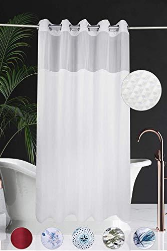 White Waffle Fabric Hookless Shower