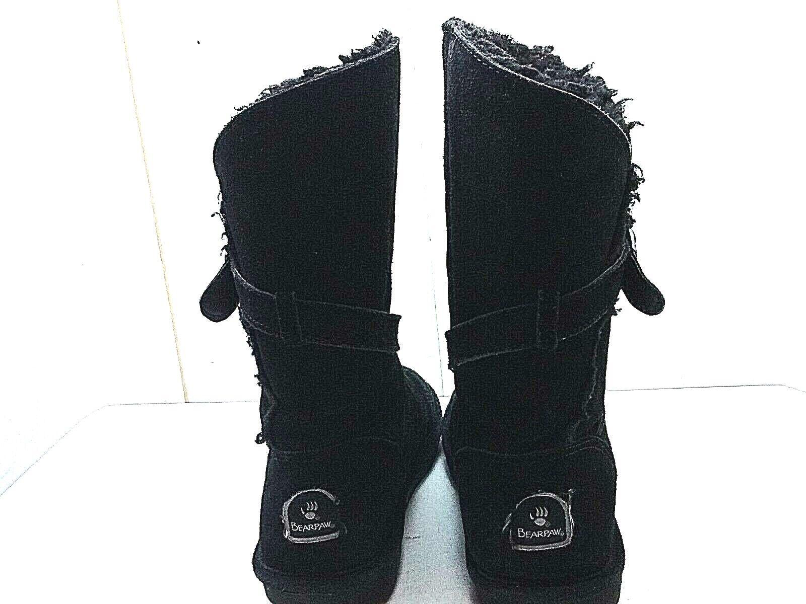 BearPaw Tatum Black Suede Mid Calf Fur Buckle Strap Strap Strap Boot Winter Women shoes 8M 39 7a3bd7