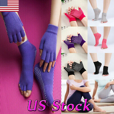 3 PAIR Half Finger Gloves with Non Skid Grips for Yoga Pilates Barre 3 pair Lot