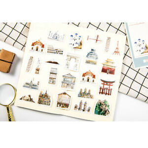 46Pcs-World-architecture-Sticker-Diy-Scrapbooking-Sticker-Stationery-Decor-LU