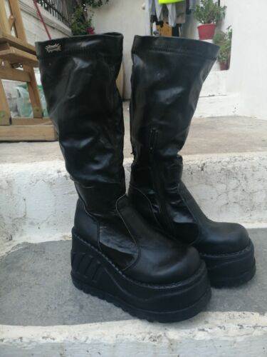 Demonia Black Platform Boots Goth High Zipper SIZE