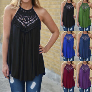UK-Women-Halter-Neck-Lace-Vest-T-Shirt-Ladies-Summer-Loose-Tank-Tops-Blouse-6-18