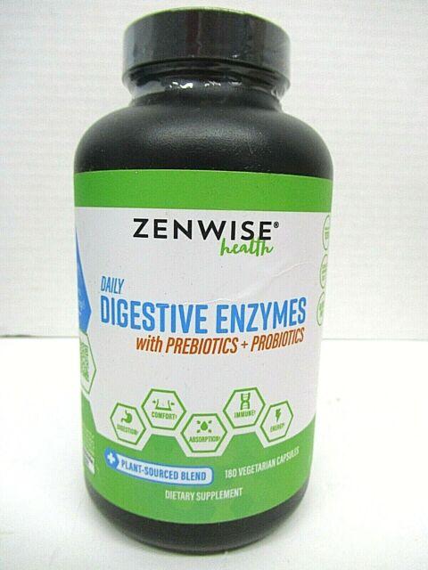 ZENWISE Daily Digestive Enzymes with Prebiotics + Probiotics 180 Veg Capsules