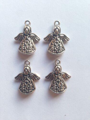 4 x dainty décoratif anges couleur argent pendentif charm 20mm x 15mm