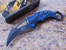 Couteau Mtech Karambit A/O Blue Lame Acier 440C Manche Blue/Black G-10 MTXA833BL