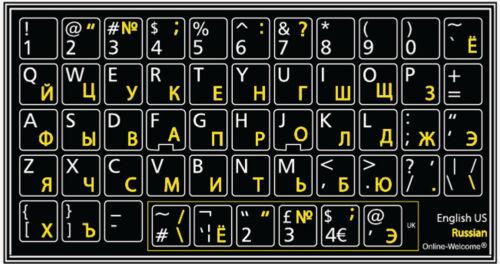 RUSSIAN-ENGLISH KEYBOARD STICKER NON TRANSPARENT BLACK  FOR COMPUTER DECKTOP