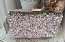 Accessorize Glitter clutch hard case bag bnwt