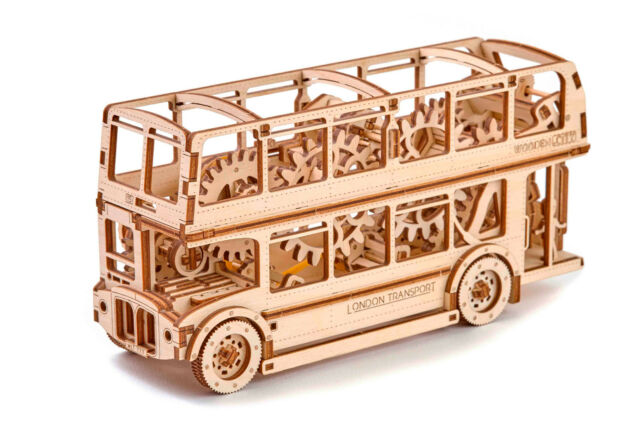 Wooden Puzzle 3D Kinetic Model London Bus STEM Education by Wooden.City