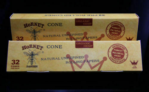 2 packs size1 1//4 64 Pre-Rolled cones made natural  unrefined organic hemp