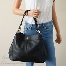 Coach F28997 Lexy Shoulder Bag in Black Pebble Leather
