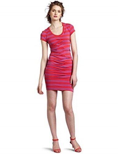 NICOLE MILLER ARTELIER Vanessa Mini Dress Wave lila rot S Striped Tierot Short