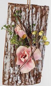 Formano Deko Baumrinde Mit Rosa Blume Zum Hangen Stellen 25 Cm