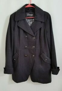 Guess-Womens-Coat-Jacket-Dark-Gray-Cuff-Sleeves-Double-Breasted-Wool-Blend-Sz-XL
